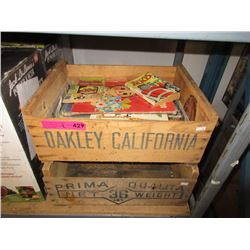 2 Wood Fruit Crates & Children's Books