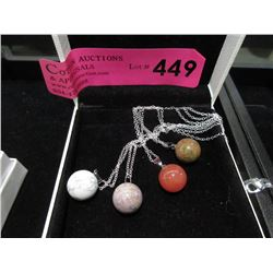4 New Gemstone Orb Necklaces on Silver Chains