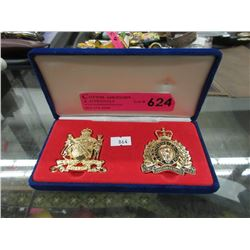 1982 RCMP & Kinsmen Cap Badges in Fitted Box