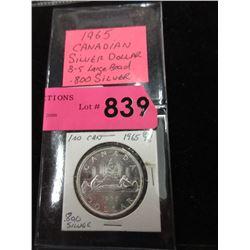 1965 Canadian Silver Dollar Coin - .800 Silver