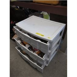 3 Drawer Plastic Bin with Crafting Supplies