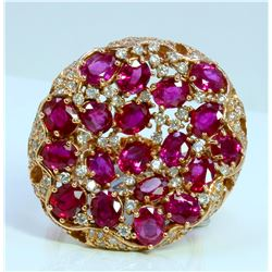 RUBY 7.10CT 14K ROSE GOLD RING 11.12GRAM DIAMOND 0.81CT