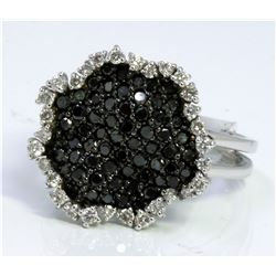 BLACK DIAMOND 0.83CT 14K WHITE GOLD RING 5.00GRAM WHITE DIAMOND 0.28CT