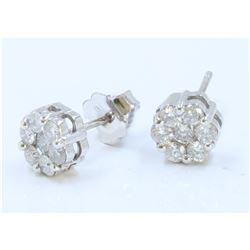 14K WHITE GOLD EARRING 1.70GRAM /DIAMOND 0.65CT/#R8004