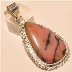 Rhodonite Pendant Solid Sterling Silver