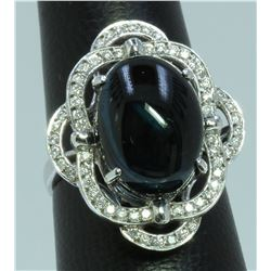 Green Tourmaline : 10.5ct/14K White Gold Ring : 6.38g/Diamond : 3.36ct