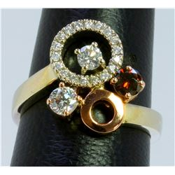 BROWN DIAMOND 0.23CT 14K WHITE AND ROSE GOLD RING 6.80GRAM DIAMOND 0.60CT