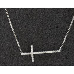 14K WHITE GOLD CROSS PENDANT WITH CHAIN 3.01GRAM/DIAMOND 0.30CT/#R8002