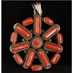 Sterling Silver .925 red coral Pendant 33.41gram