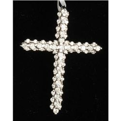 14K WHITE GOLD CROSS DIAMOND PENDANT:3.25GRAMS/DIAMOND:0.96CT