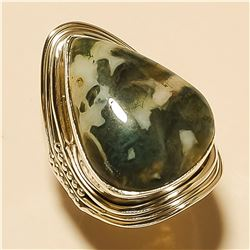 Moss Agate RING Solid Sterling Silver