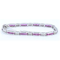 14K White Gold Ruby Bracelet :16.65 Grams/Ruby:4.28ct/Diamond:0.71ct/#R8005