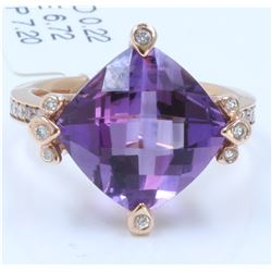 14 K ROSE GOLD AMETHYST RING:7.20 GRAMS/DIAMOND:0.22CT/AMETHYST:6.72CT/#R8010