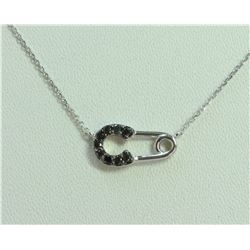 14K White Gold Pendant with Chain 1.63g/Black 0.14ct