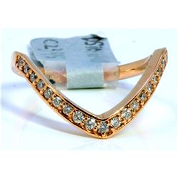 14K ROSE GOLD RING 3.80GRAM  DIAMOND 0.28CT