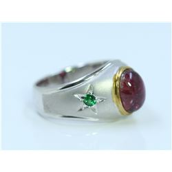 Sterling silver .925 with Pink and green gem stone 5.87gram