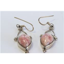 Sterling Silver .925 Pink Gem Earrings