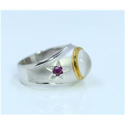 Sterling Silver .925 Moon Stone/Ruby Ring 5.92gram