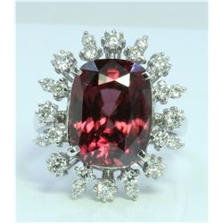 Red Zircon : 12.53ct/14K White Gold Ring : 6g/Diamond : 0.79ct