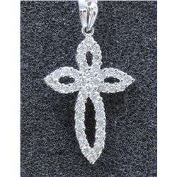 18K WHITE GOLD DIAMOND CROSS PENDANT:1.72GRAMS1190/DIAMOND:0.69CT/#R8018