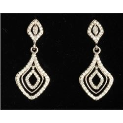 14K WHITE GOLD DIAMOND EARRING:6.12 GRAMS/DIAMOND:1.18CT