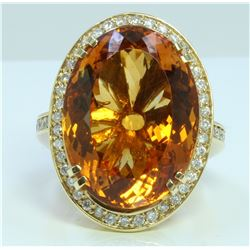 Citrine : 33.31ct / 14K White Gold Ring : 17.12g/Diamond : 0.82ct