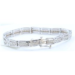 14K WHITE GOLD DIAMOND BRACELET :19.60 GRAMS/DIAMOND:1.74CT