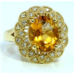 CITRINE 4.29CT 14K YELLOW GOLD RING