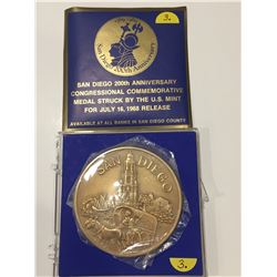 1968 San Diego 200th Anniversary Congressional Medal - US Mint