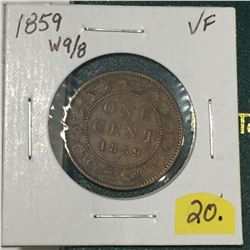 1859 Canada Large Cent - Wide 9/8