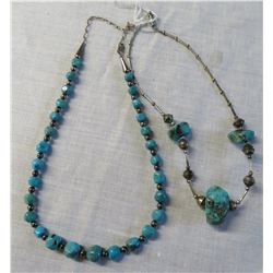 2 Sterling Silver & Turquoise Necklaces