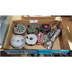 BOX LOT MISC FISHING REELS, WRENCHES ETC.