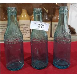 THREE ANTIQUE STRAIGHT SIDE COCA COLA BOTTLES