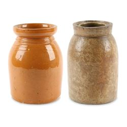 Pair Ontario Redware Storage Jars