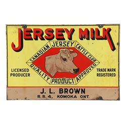 Jersey Milk Cattle Porcelain Sign Komoka