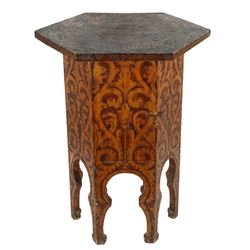 Folk Art Hexagonal Floral Decorated Table