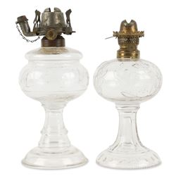 Two Pattern Glass Oil Lamps