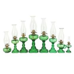 Collection of Green Bullseye Pattern Oil Lamps