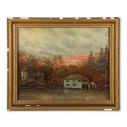 Oil Painting of Lakeside Home with Boathouse