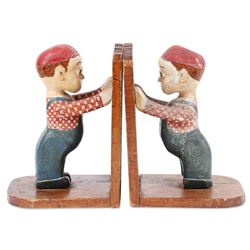 Pair of Folk Art Figural Bookends