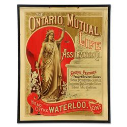 Ontario Mutual Life Assurance Co. Tin Litho Sign