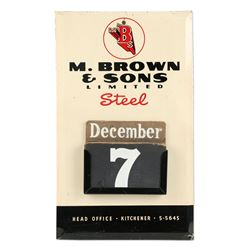Brown & Sons Steel, Kitchener Tin Calendar