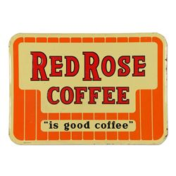 Tin Litho Red Rose Coffee Sign