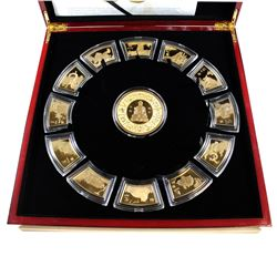 2014 Royal Canadian Mint Chinese Lunar Calendar 24-kt Gold-Plated Medallion Set with Deluxe Collecto