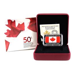 2015 $50 50th Anniversary Canadian Flag Silver Rectangular Coin (Tax Exempt). Please note outer box