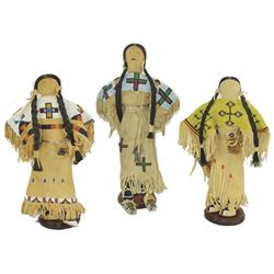 3 Beaded Buckskin Dolls