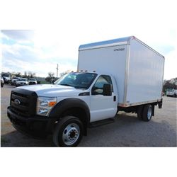 2015 FORD F550 BOX TRUCK; VIN/SN:1FDUF5GY8FEA71172 - V10 GAS, A/T, AC, 14' LYNCOACH VAN BODY, ROLL U