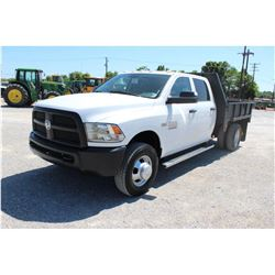 2013 DODGE 3500 FLATBED TRUCK; VIN/SN:3C7WRSCT2DG565159 - CREW CAB, V8 GAS, A/T, AC, 9' STEEL FLATBE