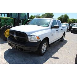2015 DODGE 1500 PICKUP TRUCK; VIN/SN:1C6RR7KG5FS738736 4X4, CREW CAB, V6 GAS, A/T, AC, BED COVER, 65