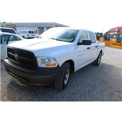 2012 DODGE 1500 PICKUP TRUCK; VIN/SN:1C6RD7KP3CS283282 - 4X4, CREW CAB, V8 GAS, A/T, AC, BED COVER,